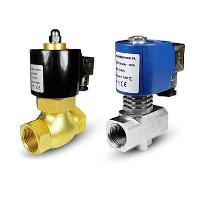 Hot water and water solenoid valves 180 ° C