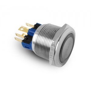 Button 22mm stainless steel IP65 LED 230V or 24V blue momentary