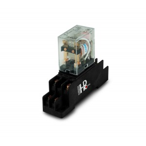 Relay 10A 2x NO/NC with a base for mounting on a DIN rail