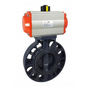 Butterfly valve, throttle DN65 UPVC with pneumatic actuator AT75
