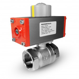Brass ball valve 3/4 inch DN20 with pneumatic actuator AT32