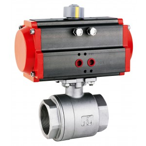 Stainless steel ball valve 1 1/4 inch DN32 with pneumatic actuator AT63