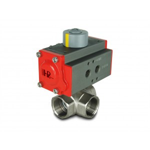 3-way brass ball valve 1 1/4 inch DN32 with pneumatic actuator AT40