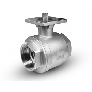Stainless steel ball valve 2 1/2 inch DN65 PN40 mounting plate ISO5211