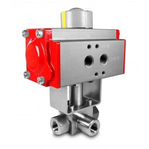 High pressure 3-way ball valve 1/2 inch SS304 HB23 with pneumatic actuator AT63