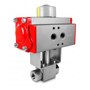 High pressure ball valve 1/2 inch SS304 HB22 with pneumatic actuator AT63