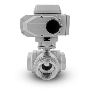 3 way ball valve stainless. 2 inch DN50 A1600 actuator