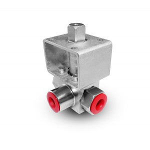 High pressure 3-way ball valve 1 inch SS304 HB23 mounting plate ISO5211
