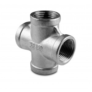 Stainless steel pipe cross internal thread 4 x 3/8 inch